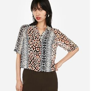 Animal print Elbow button up size S